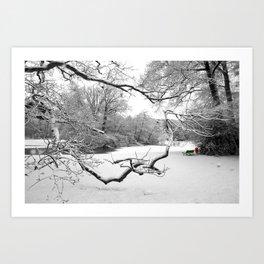 Snow in the park Art Print