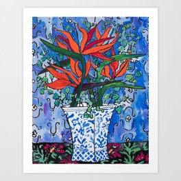 Birds of Paradise in Blue After Matisse Art Print