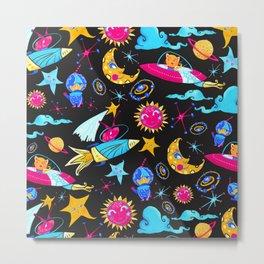 Orbital - Pink | Blue | Yellow Metal Print