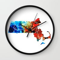 patriots Wall Clocks featuring Massachusetts - Map Counties By Sharon Cummings by Sharon Cummings