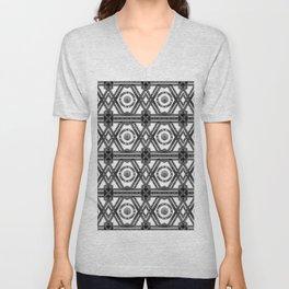 Geometric Black and White Tribal-Inspired Repeat Pattern Unisex V-Neck