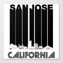 Retro San Jose California Skyline Canvas Print