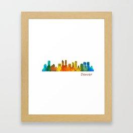 Denver Colorado City Watercolor Skyline Hq v1 Framed Art Print