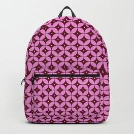 Mid Century Modern Atomic Burgundy Diamond Pattern Backpack