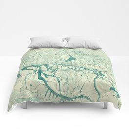 Hamburg Map Blue Vintage Comforters