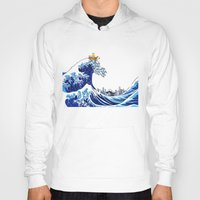 hobbes Hoodies featuring Surfs up Calvin! by Ancora Imparo