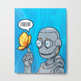 Robot and... Butterfly (Orange) on blue Metal Print