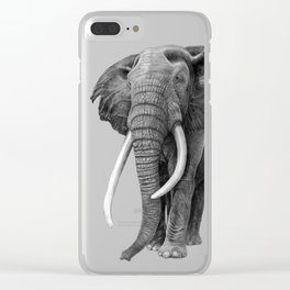 Bull elephant - Drawing in pencil Clear iPhone Case