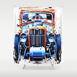 exploding pixels car Shower Curtain
