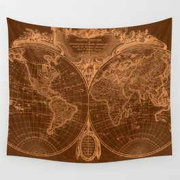 World Map (1775) Brown & Light Brown  Wall Tapestry