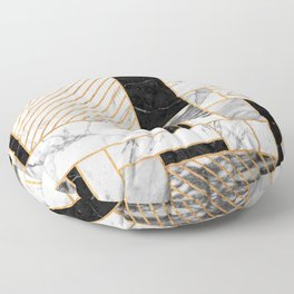 Random Pattern - Black and White Marble Floor Pillow