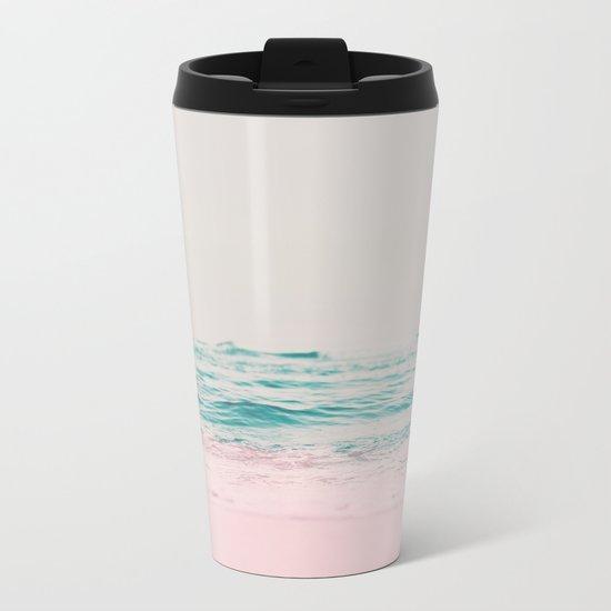 Vintage Pastel Ocean Waves Metal Travel Mug