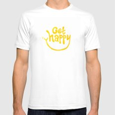 Get Happy! Mens Fitted Tee MEDIUM White