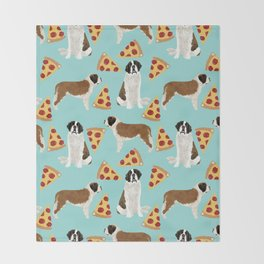 Saint Bernard pizza slices funny cute dog gifts for dog lover unique dog breeds Throw Blanket