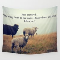 scripture Wall Tapestries featuring My Sheep by RDelean