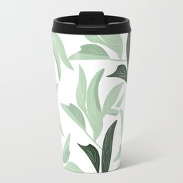 Abstract modern green pastel color leaves floral Travel Mug