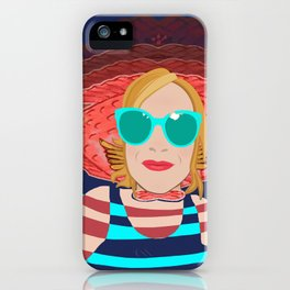 Power Girl with Glasses at the Sea iPhone Case
