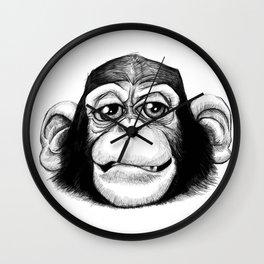 Cheeky baby chimp black and white. Wall Clock