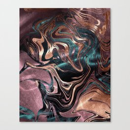 Metallic Rose Gold Marble Swirl Canvas Print