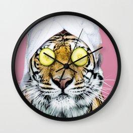 Tiger in a Towel Wall Clock