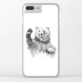 Waving Bear Clear iPhone Case
