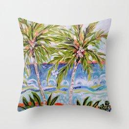 Palm Trees by Karen Fields Throw Pillow