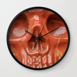 Red Jasper Skull Wall Clock