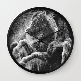 Winter Horses, Statues from in ice and rime black and white photograph / black and white photography Wall Clock