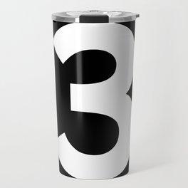 Number 3 (White & Black) Travel Mug