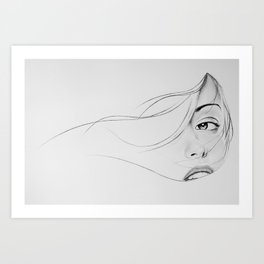 the woman behind the curtain Art Print