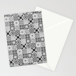 Patchwork pattern, black and white, seamless tile design Stationery Cards