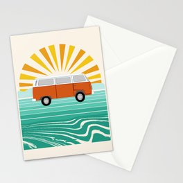 Peace, man - retro 70s hippie bus surfing socal california minimal 1970's style vibes Stationery Cards