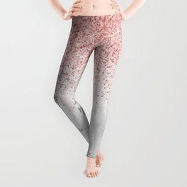 Rose Gold Glitter and white marmble Leggings
