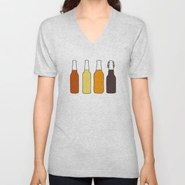 Vintage Beer Bottles Unisex V-Neck