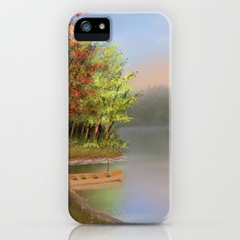Riverside at fall iPhone Case