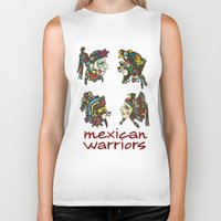 mexican Biker Tanks featuring mexican warriors by laika in cosmos