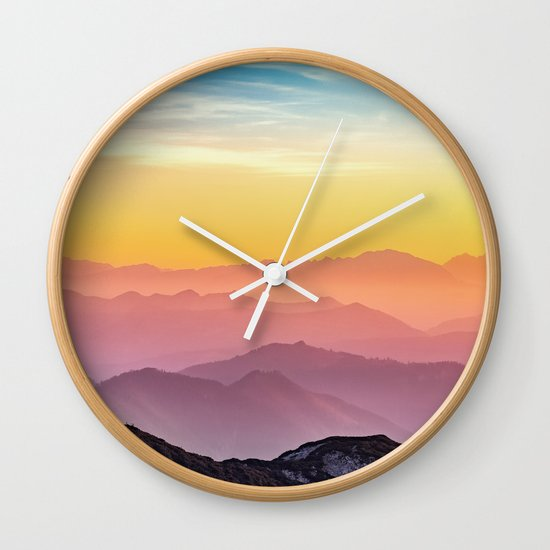 Sky Blue Yellow Orange Purple Wall Clock By S Bastien