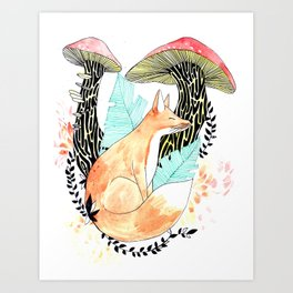 Illustration * The mushroom fox * forest, animal, nature, hippie, colors, nature, watercolors Art Print