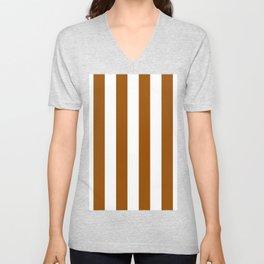 Vertical Stripes - White and Brown Unisex V-Neck