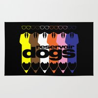 reservoir dogs Area & Throw Rugs featuring Colorful Dogs by Nightwatcher