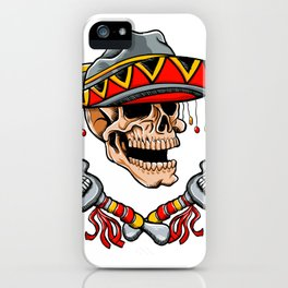 Skull Mexican style with sombrero and maracas iPhone Case