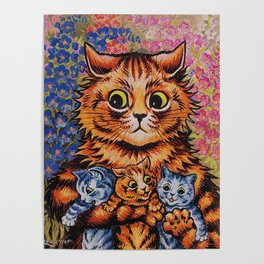 Cat and Her Kittens-Louis Wain Cats Poster