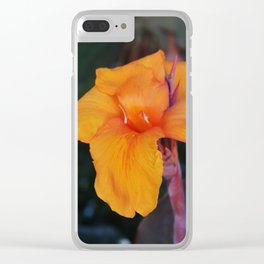 Orange Canna Lily Clear iPhone Case