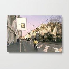 Yellow Stencil in Basel Metal Print