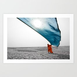 Flying saree in Varanasi, India Art Print