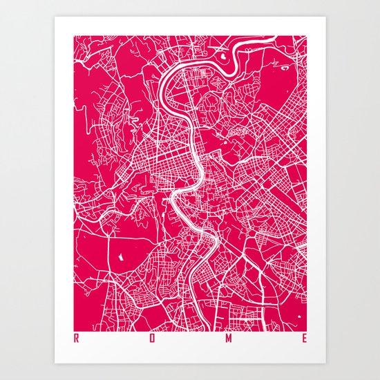 Rome map raspberry Art Print
