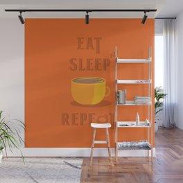 Eat Sleep Coffee Repeat Wall Mural
