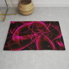 Glowing web of pink cosmic lines of energy and a mystical smoke screen on a black background. Rug