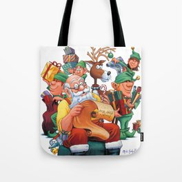 Santa checking his list with elves Tote Bag