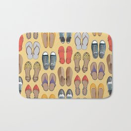 Hard choice // shoes on yellow background Bath Mat